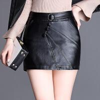 短裙裤女秋冬高腰显瘦皮短裤大码皮裤裙黑色百搭松紧靴裤女外穿