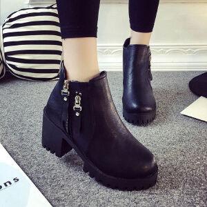 WARORWAR新品YM75-D-12冬季韩版粗跟高跟女士靴子切尔西靴短靴