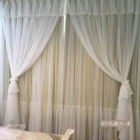韩式粉色蕾丝公主风窗帘成品卧室遮光儿童飘窗落地窗双层纱帘布订做