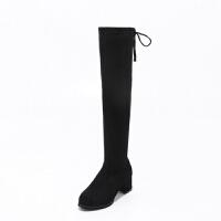 秋冬弹力靴女2018新款靴子高跟长筒过膝靴后系带不掉筒粗跟长靴潮 黑色