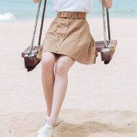 【全场2件2.5折,到手价:29.8】美特斯邦威半身裙女夏装新款气质可爱宽松A字裙短裙2019夏装新款
