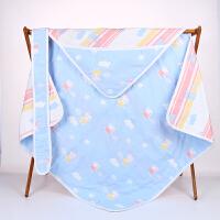 新生儿抱被 纱布宝宝春秋夏季裹布襁褓婴儿被子 包巾抱毯包被 其他颜色 85×85抱被佩奇蓝