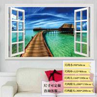 3d立体假窗户自粘墙贴装饰贴画贴纸墙纸墙面客厅大海风景画壁纸画