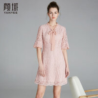 颜域品牌女装2018夏季装新款系带优雅撞色拼接喇叭袖蕾丝连衣裙