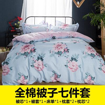 床上被子冬被四件套纯棉全棉送枕芯套装全套装双人床带被芯六件套   被子被芯套装送四件套