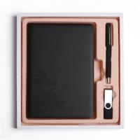 商务办公笔记本礼盒套装A5皮面记事本 平装本+签字笔+16GU盘
