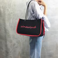 女包大包2018新款韩版潮托特包时尚大容量印花字母单肩包帆布大包
