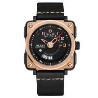 2018新款 美格尔手表男士 真皮日历运动时尚方形大表盘男石英腕表