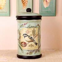 美式复古彩绘陶瓷储物罐收纳罐带盖糖果盒储物罐客厅装饰摆件摆设 雀归巢 圆柱罐