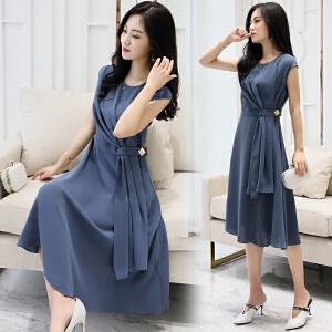 风轩衣度 2018年夏季甜美中长款修身显瘦韩版短袖纯色个性优雅甜美连衣裙 2133-8919