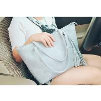 大包包潮韩版学生手提包简约单肩包冬季大气流苏女包 灰色
