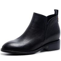靴子女冬2018新款内增高短靴女士中跟真皮短筒及踝靴百搭粗跟女鞋 黑色(绒里)