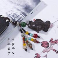高档汽车钥匙扣挂件黑檀木鱼菩提子保平安符创意车内挂个性饰品链 乌木立体鱼钥匙挂