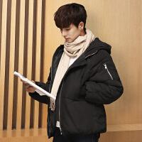 棉衣男冬季韩版学生青年棉袄男中长款加厚大码情侣面包服外套 MY21 黑色 S 90斤以下