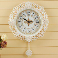 欧式创意钟表玫瑰石英钟 钟表挂钟客厅圆形静音蝴蝶结简约挂表个性