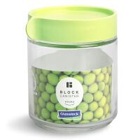 韩国glasslock圆形积木式叠加玻璃储物罐 零食密封罐 杂粮储存罐