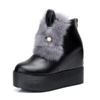 2018冬季新款兔耳朵毛毛雪地靴女加绒棉鞋百搭厚底内增高马丁靴潮
