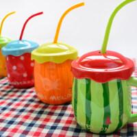 陶瓷个性杯子 创意潮流马克杯带盖勺简约水杯家用大肚儿童牛奶杯