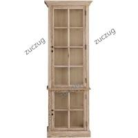 ZUCZUGHC 橡木玻璃门展示柜 美式乡村中小户型实木架大书柜餐边柜储物柜 双门
