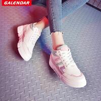 【满200减20/满400减50】Galendar女子板鞋2018新款时尚百搭厚底滑板鞋校园女生韩版休闲板鞋YCA223