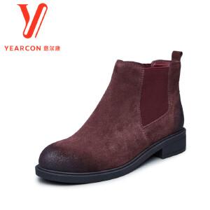 意尔康女鞋2017秋冬切尔西靴反绒牛皮加绒短筒靴子百搭英伦风踝靴