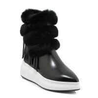 2018冬季新款短靴女坡跟棉鞋厚底真皮尖头中筒雪地靴女流苏潮真皮