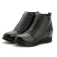 秋冬季新款真皮全牛皮软底平底短靴加绒棉靴保暖防滑女靴子软底