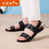 【领�幌碌チ⒓�120】红蜻蜓沙滩鞋夏季新品韩版潮流铆钉露趾沙滩鞋男士凉鞋