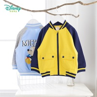 【2件3折到手价:79.5】迪士尼Disney童装男童撞色夹克外套2020年春季新品迪斯尼宝宝纯棉上衣米奇卡通印花衣服