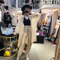 套装女夏2018新款韩版时尚纯色防晒衣+V领吊带+高腰萝卜裤三件套 均码