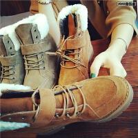 秋冬季新款复古短靴女平跟磨砂真皮羊羔毛系带马丁靴舒适女靴子潮