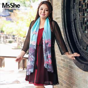 MsShe加大码女装2017新款中国风古典水墨文艺印花缎面丝巾12432