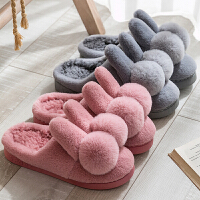 情侣拖鞋冬室内家用可爱毛绒卡通居家防滑加厚底保暖棉拖鞋冬天男