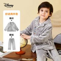 迪士尼男童加绒睡衣套装秋冬新款宝宝儿童休闲洋气家居服