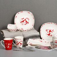 爱屋格林景德镇陶瓷米饭碗碟子条盘杯子餐具套装创意个性家用红色