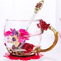 白领公社 玻璃杯 欧式玫瑰珐琅彩杯咖啡杯花茶杯套装多功能创意耐热玻璃情侣果汁杯七夕情人节礼物送女友