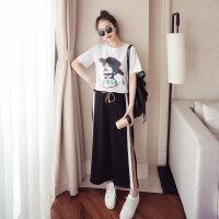 春秋季新款韩版运动服套装女圆领休闲短袖显瘦时尚两件套