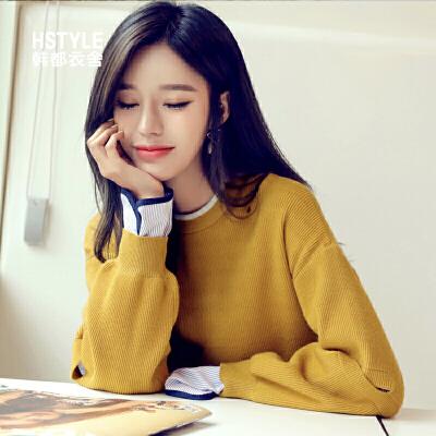 韩都衣舍2019春装新款女装韩版宽松假两件毛衣针织衫ONH8107煜