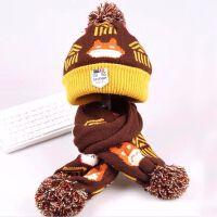 儿童帽子围巾套装秋冬季 1-6岁男童双层毛线针织帽围脖两件套女童