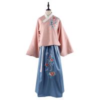 传统琵琶袖汉服女装毛呢袄裙秋冬牡丹刺绣交领两件套 上袄+下裙+腰带 粉色套装