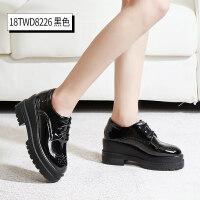 黑色漆皮松糕鞋女厚底英��鞋�涡��A�^ins小皮鞋高跟坡跟秋冬女鞋