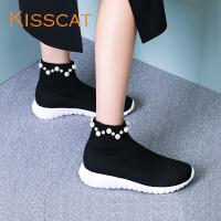 KISSCAT2017秋新款休闲运动厚底袜套鞋套脚短靴休闲鞋DA87691-50