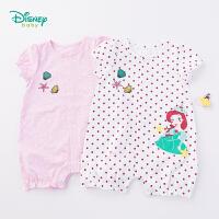 迪士尼Disney童装 婴儿衣服女宝宝美人鱼印花连体衣夏季新品纯棉短袖爬服192L783