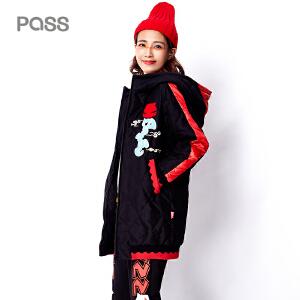 PASS旗舰店秋冬季女装中长款外套羽绒服连帽保暖羽绒衣潮6640922032