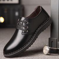 皮鞋男商务工作鞋子男新款男鞋潮男士英伦休闲皮鞋中老年系带低帮爸爸鞋0066ZL