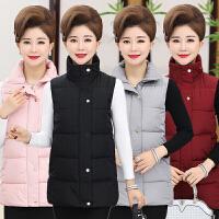 中年女装秋冬装加厚羽绒棉马甲中老年大码连帽棉背心中长款妈妈装