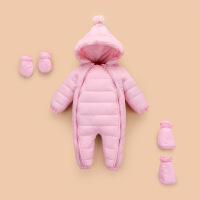 婴儿加厚保暖冬季装男宝宝羽绒连体衣服新生幼儿哈衣网红外出抱衣 粉