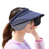 户外骑车遮脸帽子  女夏天电动车遮阳帽  伸缩镜片防晒太阳帽