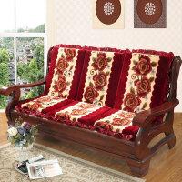 实木沙发坐垫带靠背 加厚红木沙发垫子 一年四季可用椅垫坐垫 西瓜红 永恒-红