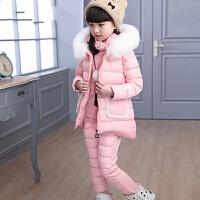 女童冬装套装2018新款儿童加厚棉马甲中大童卫衣三件套潮衣